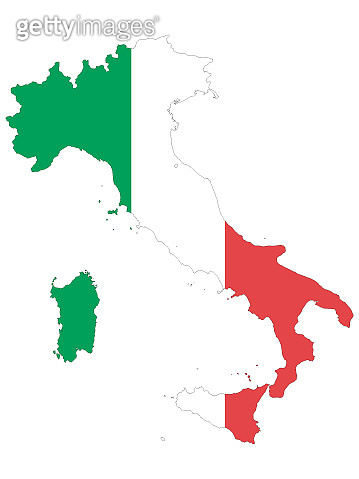 Combined Map and Flag of Italy