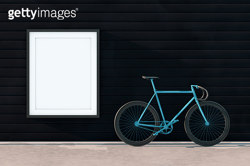 3D Empty Frame with Bicycle on the Street, Outdoors