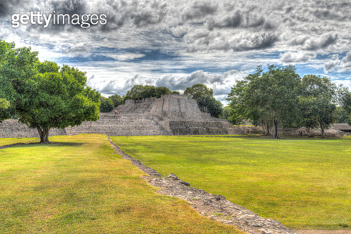 Edzna, a Mayan archaeological Site with the 'Palace Pyramid'