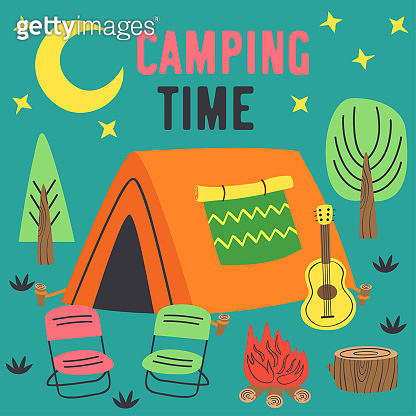 camping time poster with a tent in night