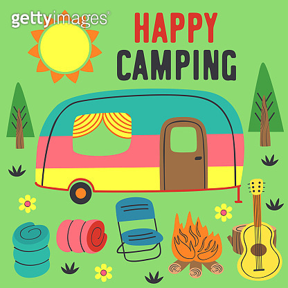 poster happy camping with a trailer
