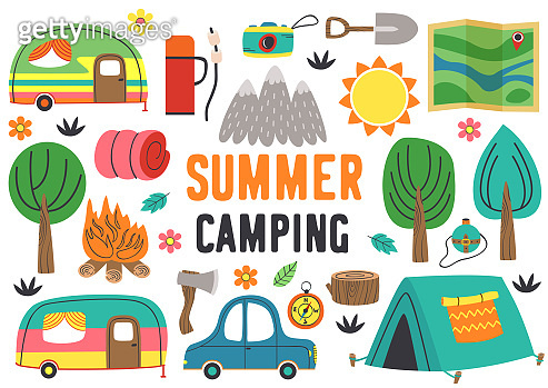 set of isolated summer camping elements part 1