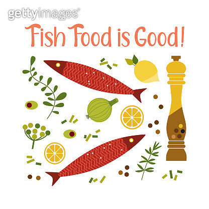 Flat hand drawn vector fish cooking icon collection