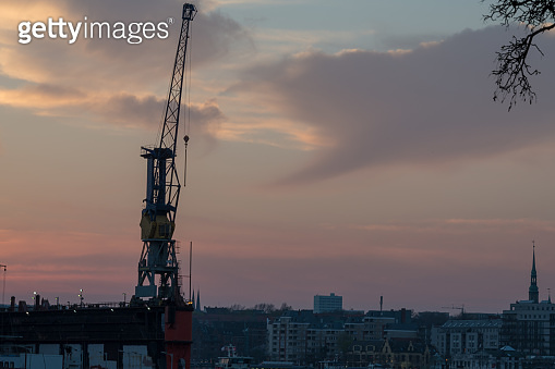 Crane in the Port of Hamburg in the 'Blue Hour'
