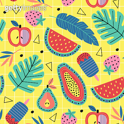 seamless pattern with fruit and plants on yellow background