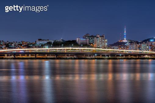 The Banpo Bridge over the Han River from Seocho to Yongsan in Seoul, Korea