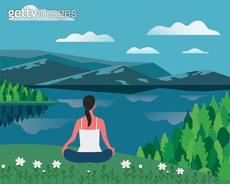 Girl exercising yoga on nature flat color vector