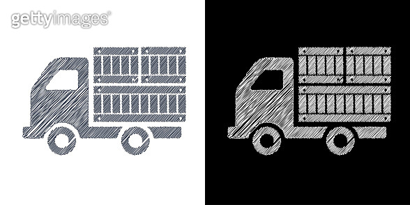 Truck or van of merchandise in drawing icon