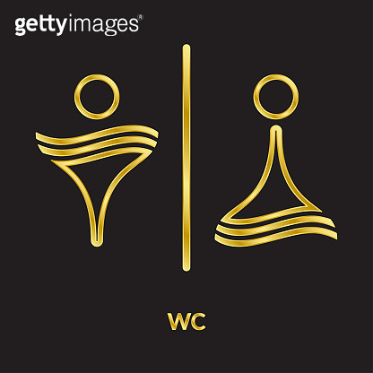 Toilet symbol for men and women, golden line vector icons