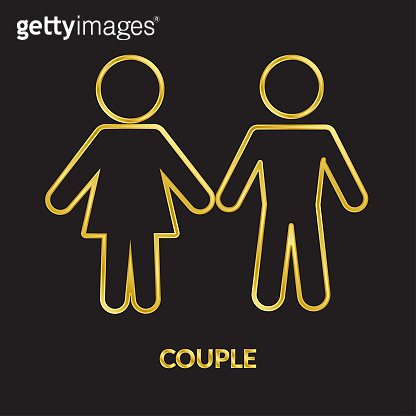 Couple golden line vector icons