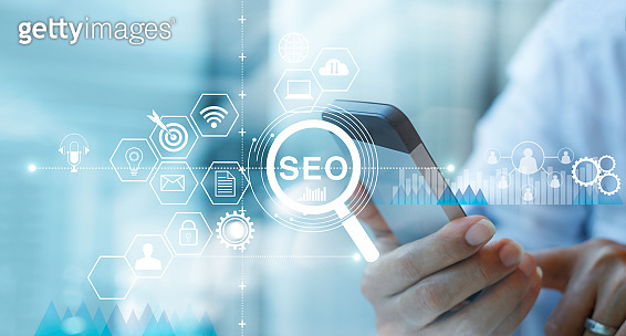 SEO Search Engine Optimization Marketing concept. Voice Search. Businessman using mobile smartphone and searching on network connection. Digital online marketing. Business technology.