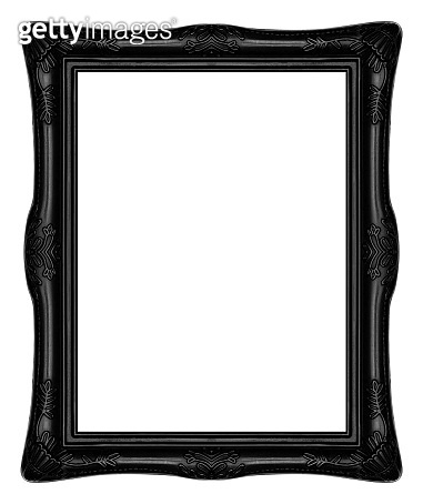 Antique black frame isolated on white background with clipping path