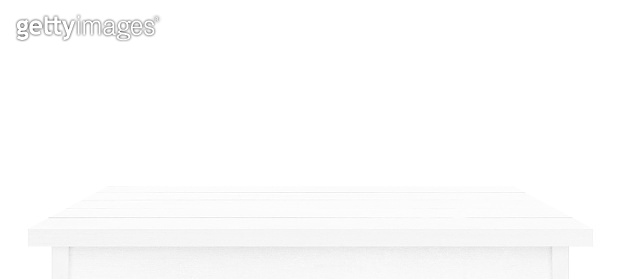 White wooden table top isolated on white background. Used for display or montage your products