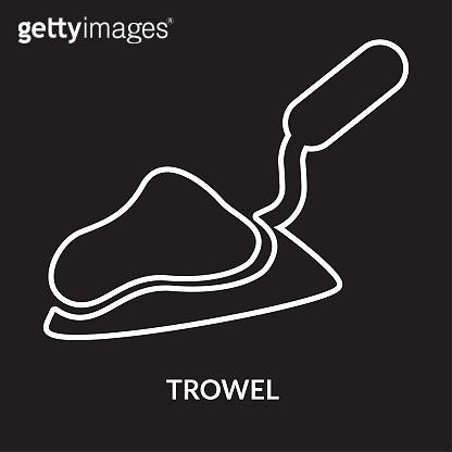 Trowel icon on black background