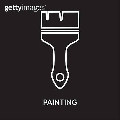Paint brush icon on black background