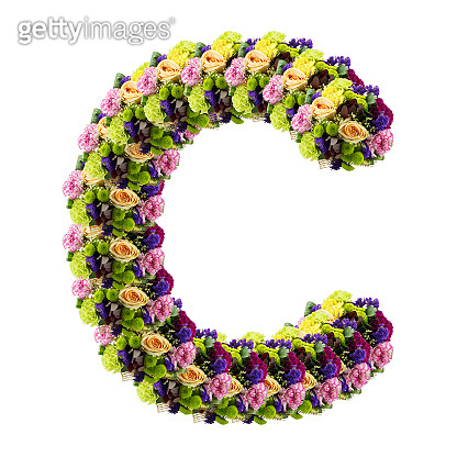 Letter C made of flower isolated on white background