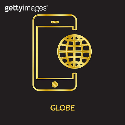 Earth Globe, golden line vector icons