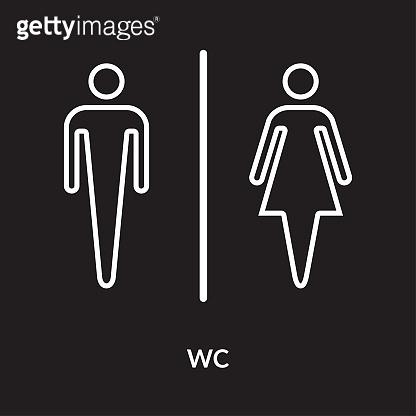 Public Restroom Sign, icon on black background