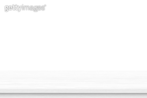 Empty white wood table top isolated on white background. Template mock up for display of product