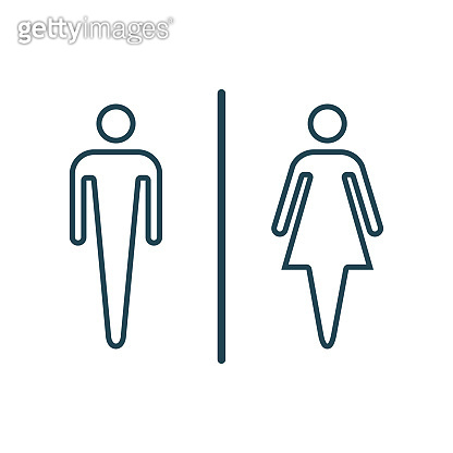Icon male and female toilet, line vector icons