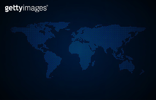 Dotted world map vector background. Communications network technology concept