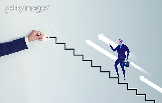 step to the goal. Businessman hand drawing a line stair to the target, increasing business.