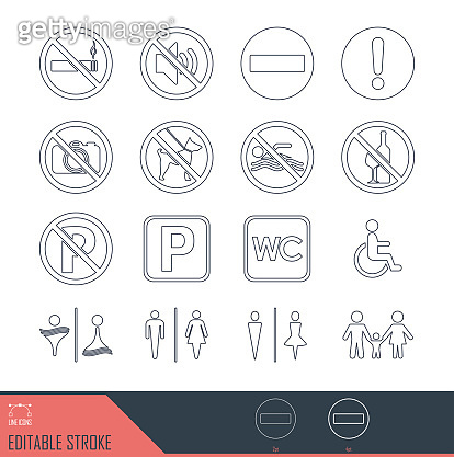 Line vector icons, sign, public signage.