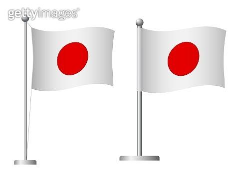 Japan flag on pole icon
