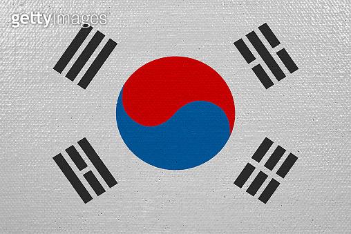 south korea flag on canvas