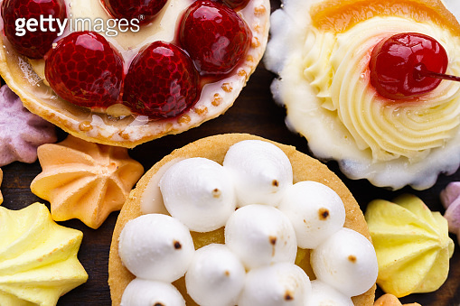 cakes and cookie. assortment of delicious desserts