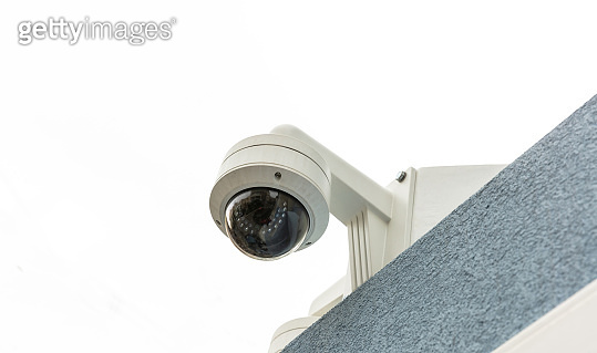 Surveillance CCTV Security Camera on the roof, closeup view