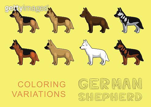 Dog German Shepherd Coloring Variations Vector Illustration