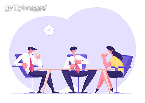 Business People Team of Relaxed Male and Female Characters Sitting in Office on Armchairs Drinking Coffee and Communicating Discussing Working Project Development. Cartoon Flat Vector Illustration