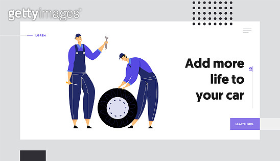 Mechanics Holding Car Wheel, Wrench and Screwdriver, Repair Service Staff with Instruments, Auto Checking and Car Maintenance Website Landing Page, Web Page. Cartoon Flat Vector Illustration, Banner