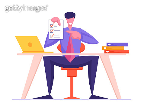 Business Contract Signing Concept. Business Man Holding Finance or Law Paper Document with Check Marks. Businessman Lawyer or Bureaucratic Official Working Occupation Cartoon Flat Vector Illustration