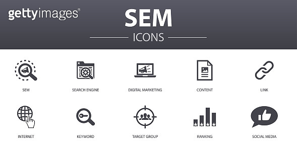 SEM simple concept icons set. Contains such icons as Search engine, Digital marketing, Content, Internet and more, can be used for web, logo, UI/UX