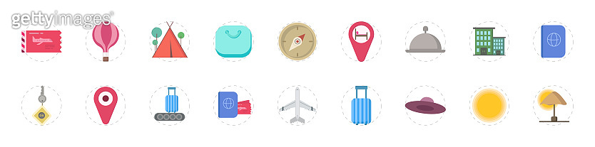travel colorful vector flat icon set for mobile concept and web apps design.