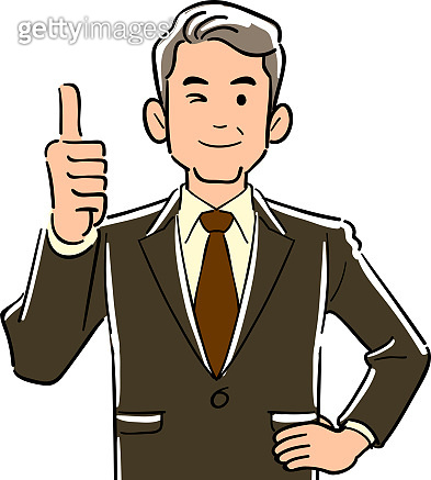 Upper body of a manager in a manager who thumbs up