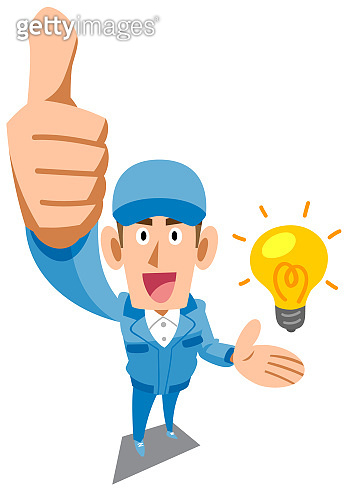 A man in blue work clothes thumbs up for an idea