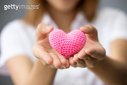 girl teen hand giving heart for sharing donation share love together concept