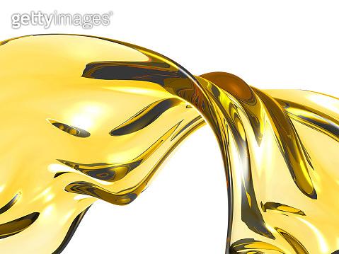 Yellow shiny transparent liquid splash
