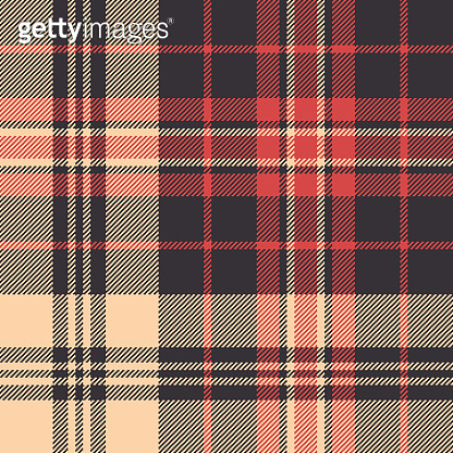 Tartan plaid pattern multicolored background. Seamless woven pixel check plaid in dark brown, bright coral, and apricot for flannel shirt, blanket, upholstery, or other modern textile design.