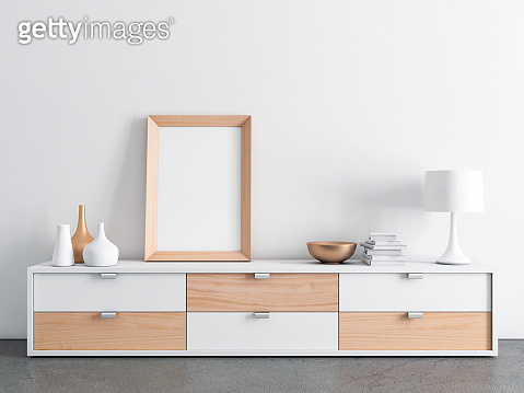 Big wooden frame poster Mockup on modern bureau console with decor, place your artwork or photo