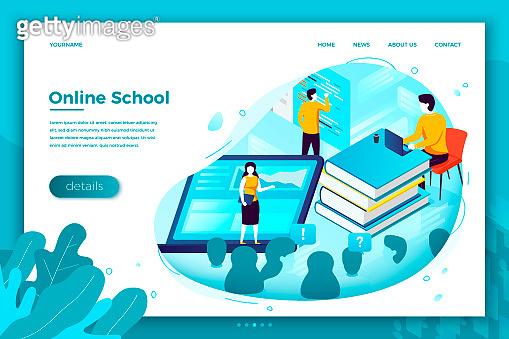 Vector illustration online school learning process
