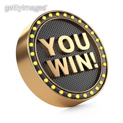 Round black golden casino banner - You Win, with lightbulbs around.