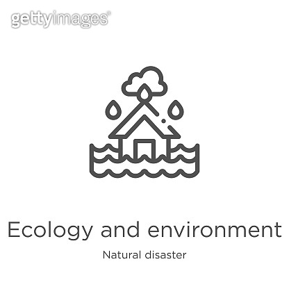 ecology and environment icon vector from natural disaster collection. Thin line ecology and environment outline icon vector illustration. Outline, thin line ecology and environment icon for website design and mobile, app development.