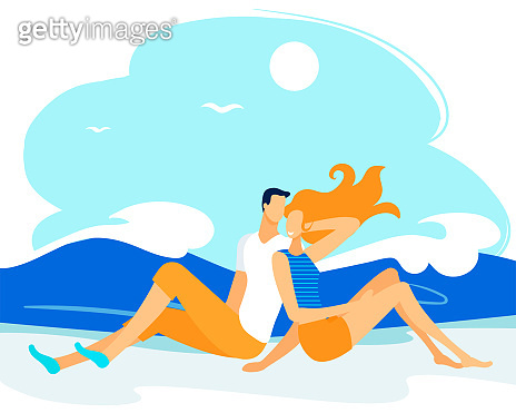 Pair Characters Spend Time on Sea Coast, Couple