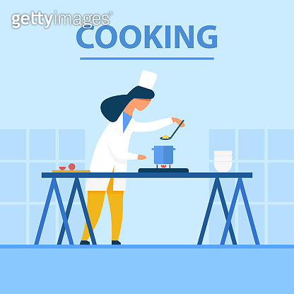Cooking Flat Cartoon Banner with Chef at Work