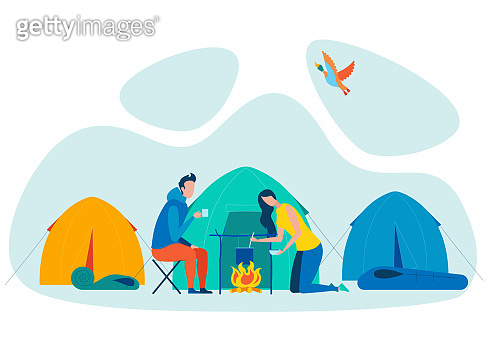 Couple Camping Vacation Flat Vector Illustration