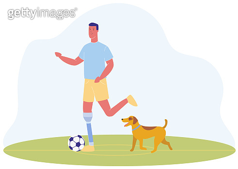 Cartoon Man with Prosthetic Leg Play Football Dog